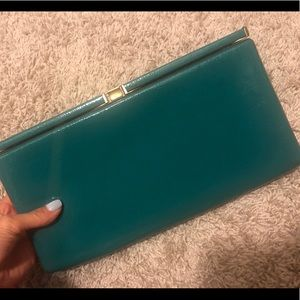 Icing Teal with Gold hardware box clutch